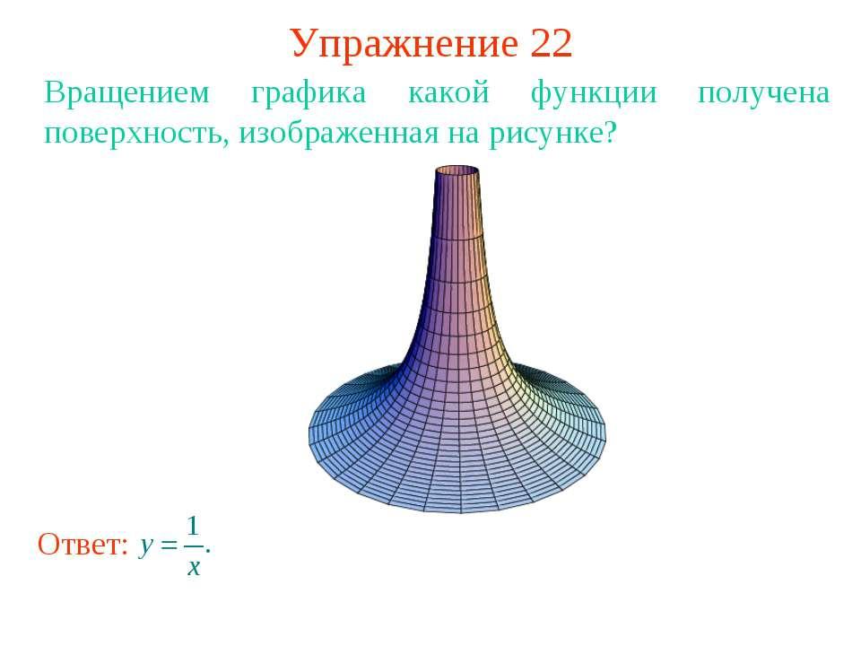 Упражнение 22 Вращением графика какой функции получена поверхность, изображен...