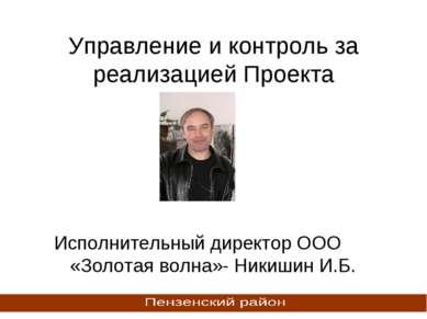 Управление и контроль за реализацией Проекта Исполнительный директор ООО «Зол...