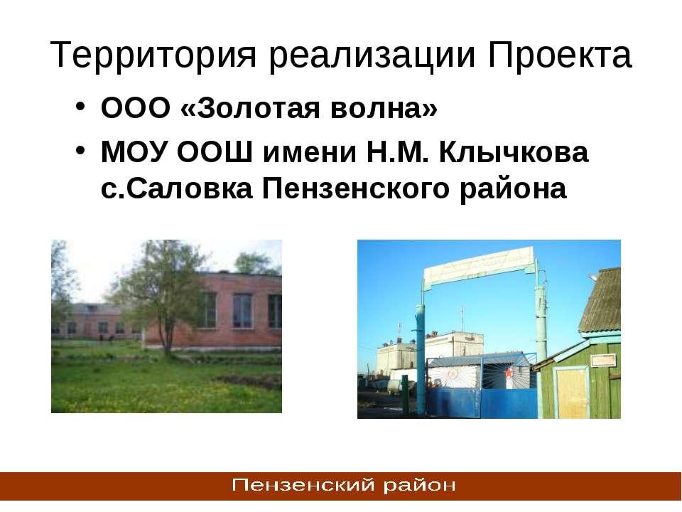 Территория реализации Проекта ООО «Золотая волна» МОУ ООШ имени Н.М. Клычкова...