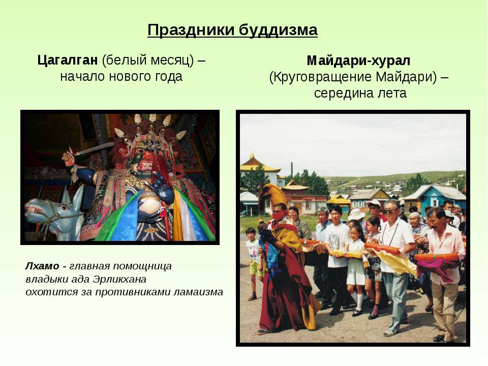 Праздники буддизма Цагалган (белый месяц) – начало нового года Лхамо - главна...
