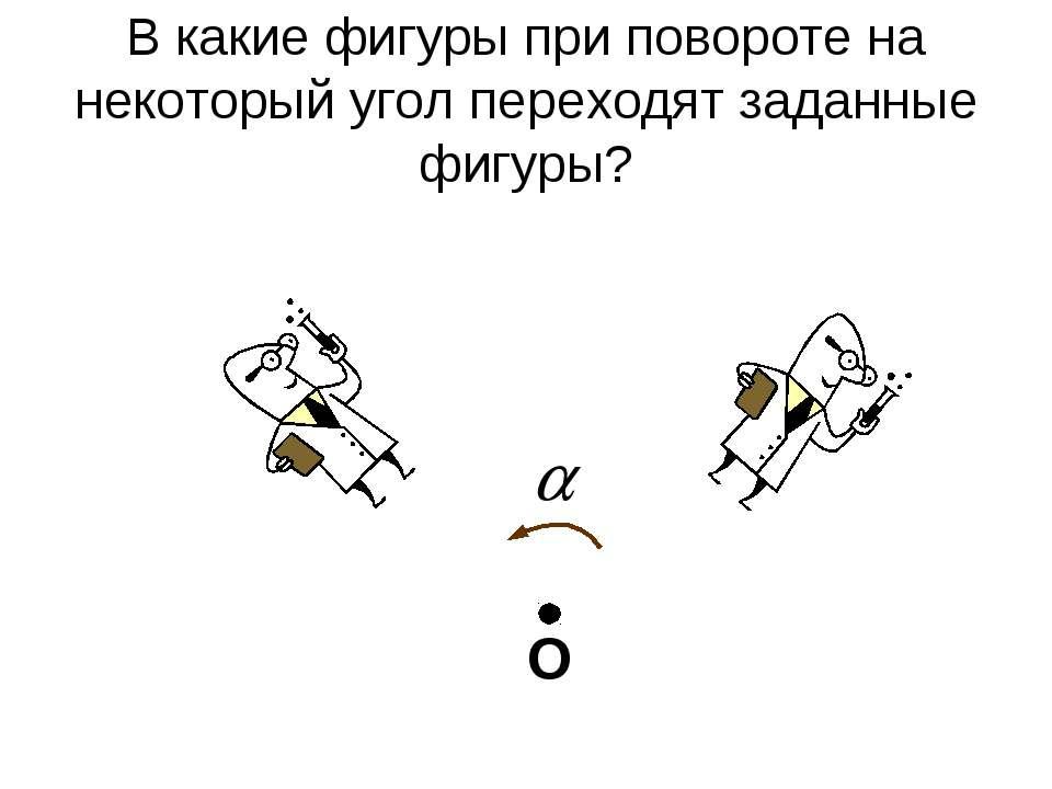 В какие фигуры при повороте на некоторый угол переходят заданные фигуры? О
