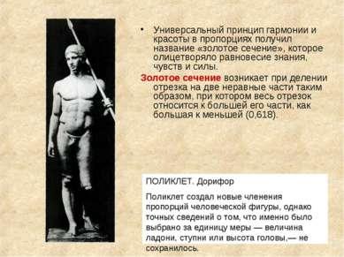ПОЛИКЛЕТ. Дорифор Поликлет создал новые членения пропорций человеческой фигур...