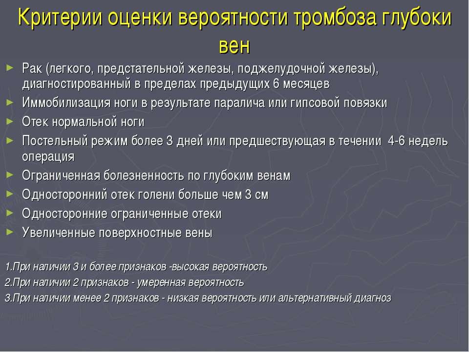 Критерии оценки вероятности тромбоза глубоки вен Рак (легкого, предстательной...