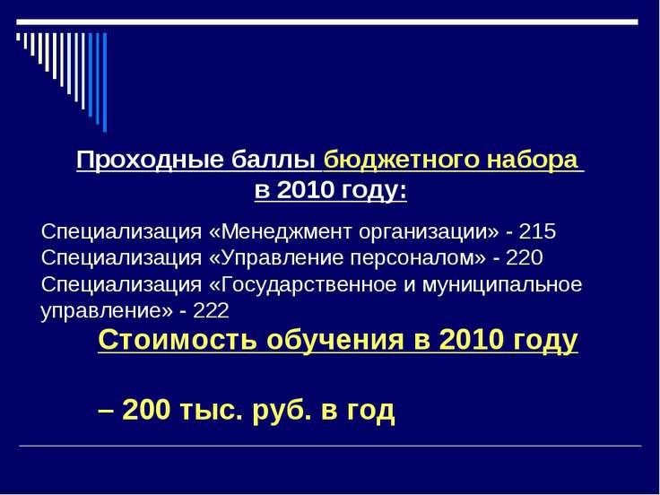 Проходные баллы бюджетного набора в 2010 году: Специализация «Менеджмент орга...