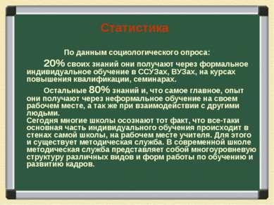 Статистика По данным социологического опроса: 20% своих знаний они получают ч...