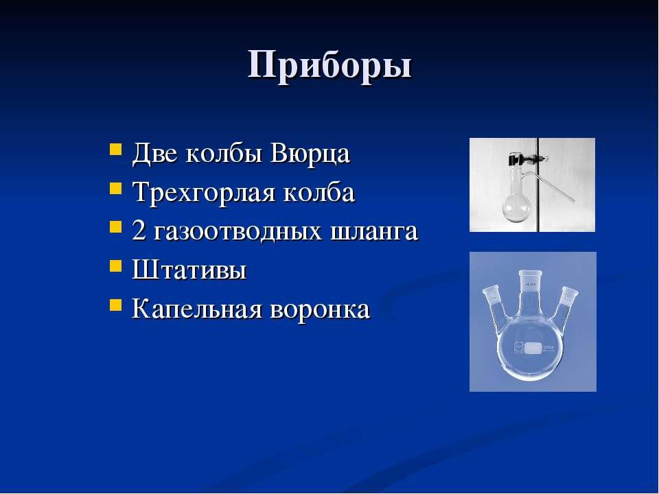 Приборы Две колбы Вюрца Трехгорлая колба 2 газоотводных шланга Штативы Капель...