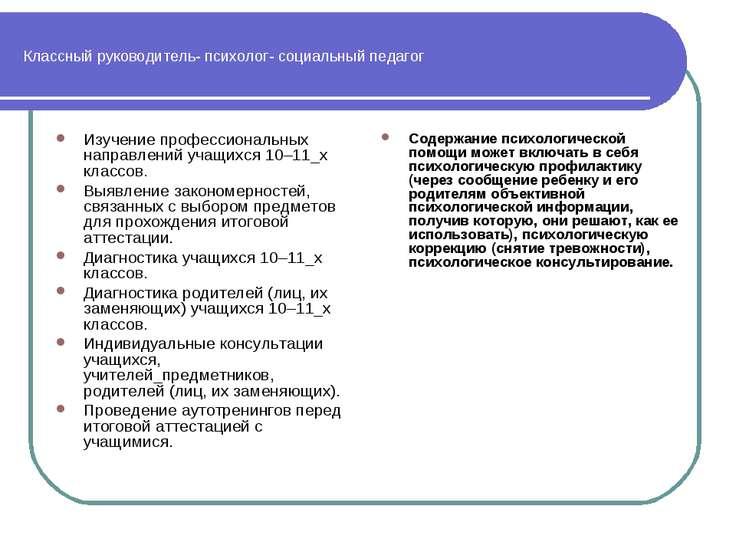 Классный руководитель- психолог- социальный педагог Изучение профессиональных...