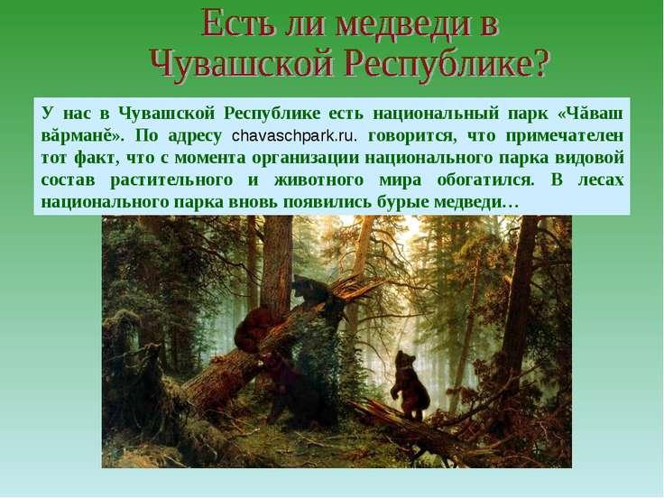 У нас в Чувашской Республике есть национальный парк «Чăваш вăрманě». По адрес...