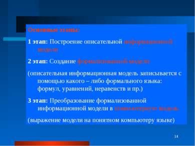 * Основные этапы: 1 этап: Построение описательной информационной модели 2 эта...