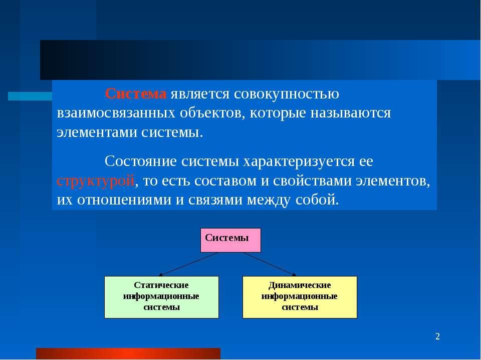 * Система является совокупностью взаимосвязанных объектов, которые называются...