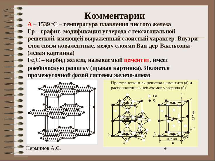 Комментарии А – 1539 оС – температура плавления чистого железа Гр – графит, м...