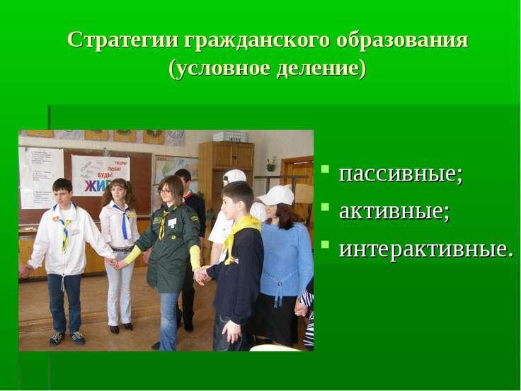 Стратегии гражданского образования (условное деление) пассивные; активные; ин...