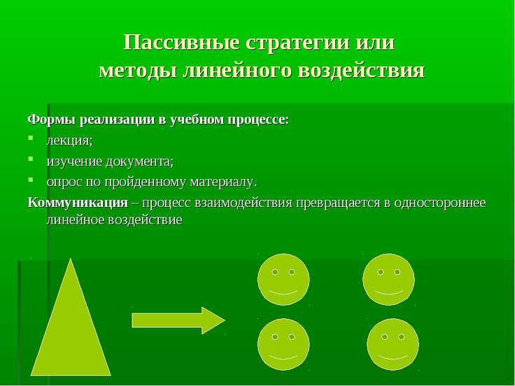 Пассивные стратегии или методы линейного воздействия Формы реализации в учебн...