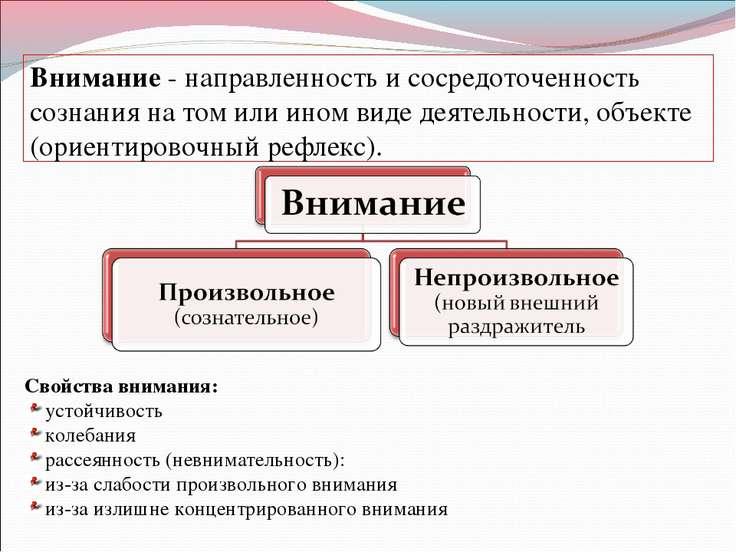 Внимание - направленность и сосредоточенность сознания на том или ином виде д...