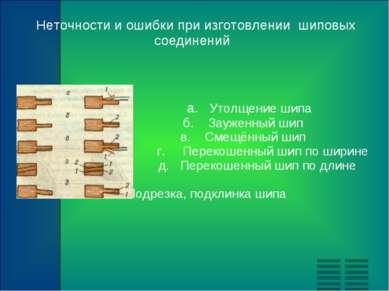 Неточности и ошибки при изготовлении шиповых соединений а. Утолщение шипа б. ...