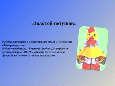 Работа выполнена по материалам книги С.Соколовой «Театр оригами». Работу выпо...