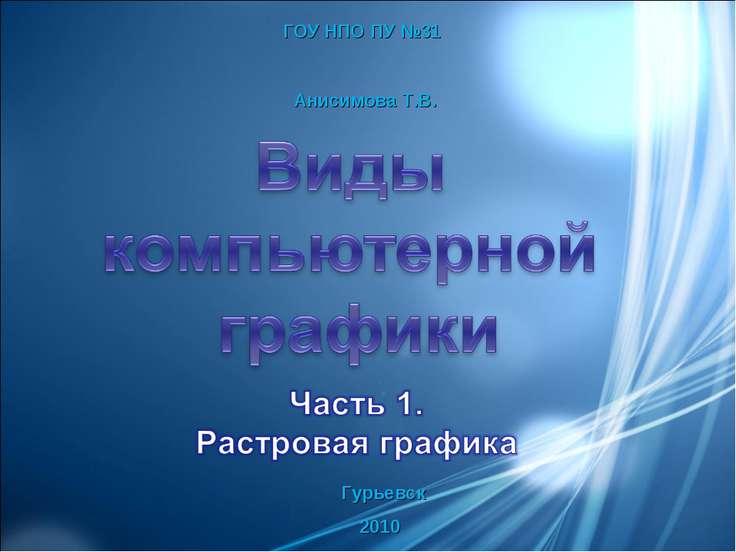 ГОУ НПО ПУ №31 Анисимова Т.В. Гурьевск 2010