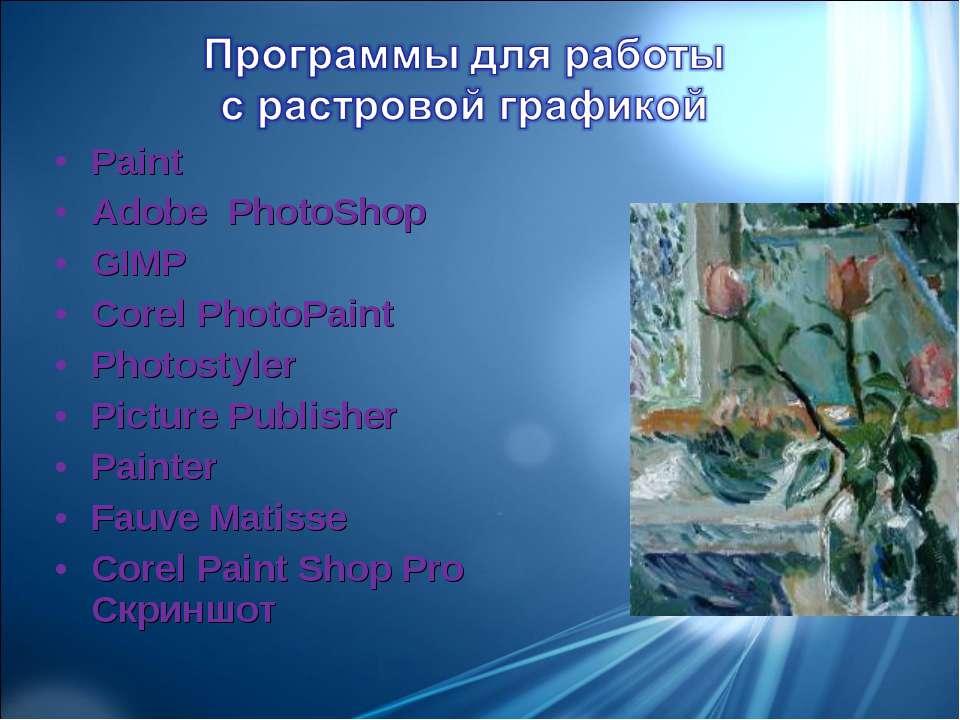 Paint Adobe PhotoShop GIMP Corel PhotoPaint Photostyler Picture Publisher Pai...