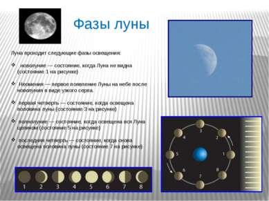 Луна проходит следующие фазы освещения: новолуние— состояние, когда Луна не ...