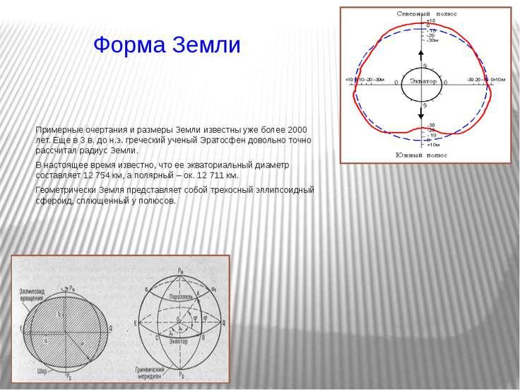 Форма Земли Примерные очертания и размеры Земли известны уже более 2000 лет. ...