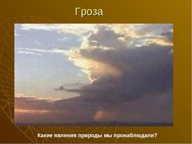 Гроза Какие явления природы мы пронаблюдали?