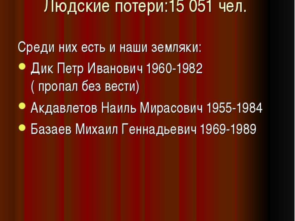 Людские потери:15 051 чел. Среди них есть и наши земляки: Дик Петр Иванович 1...
