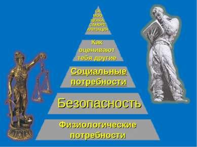Физиологические потребности Безопасность Социальные потребности Как оценивают...