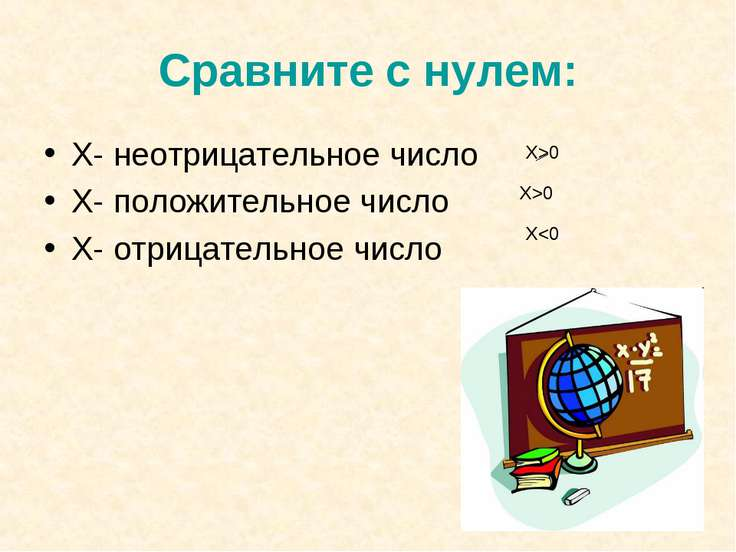 Сравните с нулем: Х- неотрицательное число Х- положительное число Х- отрицате...