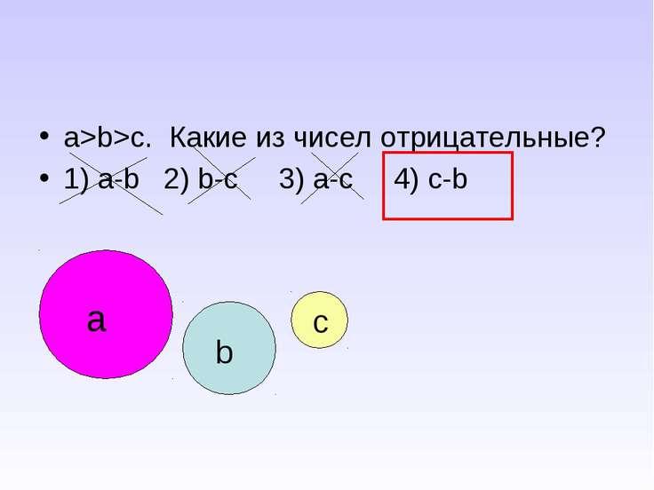 a>b>c. Какие из чисел отрицательные? 1) a-b 2) b-c 3) a-c 4) c-b a b c