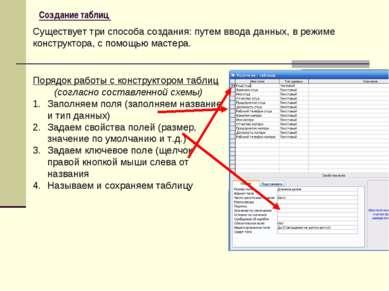 Создание таблиц Существует три способа создания: путем ввода данных, в режиме...