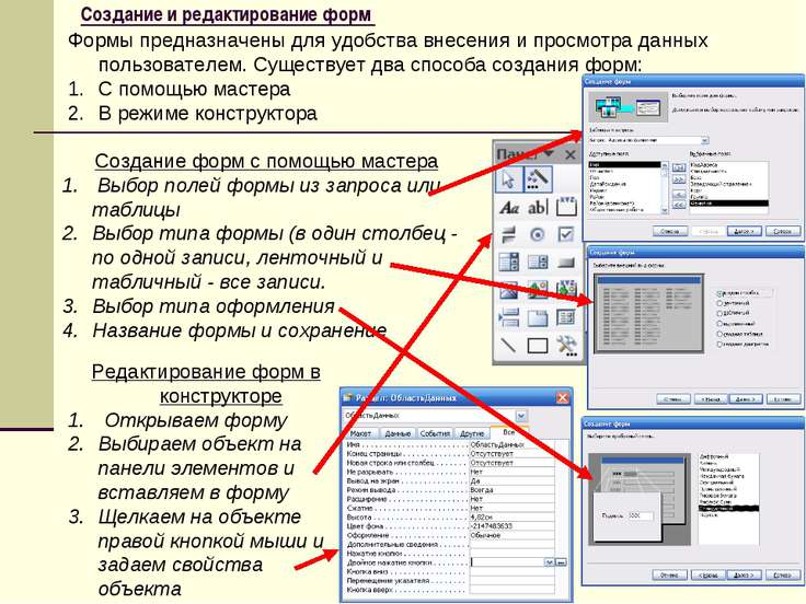 Создание и редактирование форм Формы предназначены для удобства внесения и пр...