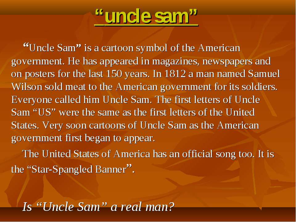 """uncle sam"" ""Uncle Sam"" is a cartoon symbol of the American government. He ha..."