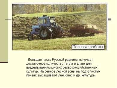 Большая часть Русской равнины получает достаточное количество тепла и влаги д...