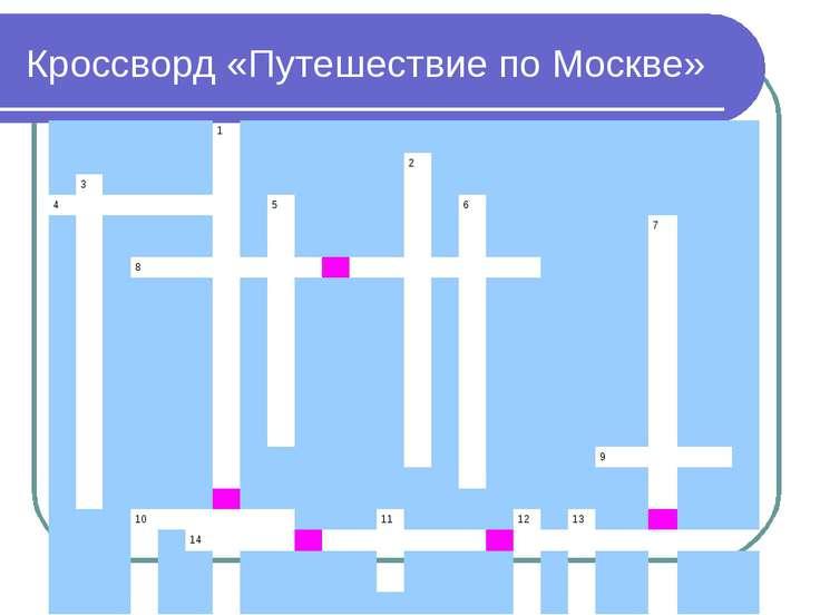 Кроссворд «Путешествие по Москве» 1 2 3 4 5 6 7 8 9 10 11 12 13 14