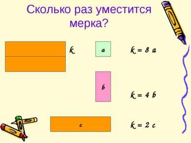 Сколько раз уместится мерка? a b c k = 8 a k = 4 b k = 2 c k