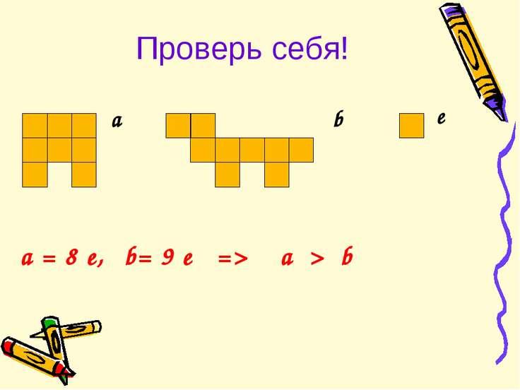 Проверь себя! a b e a = 8 e, b= 9 e => a > b