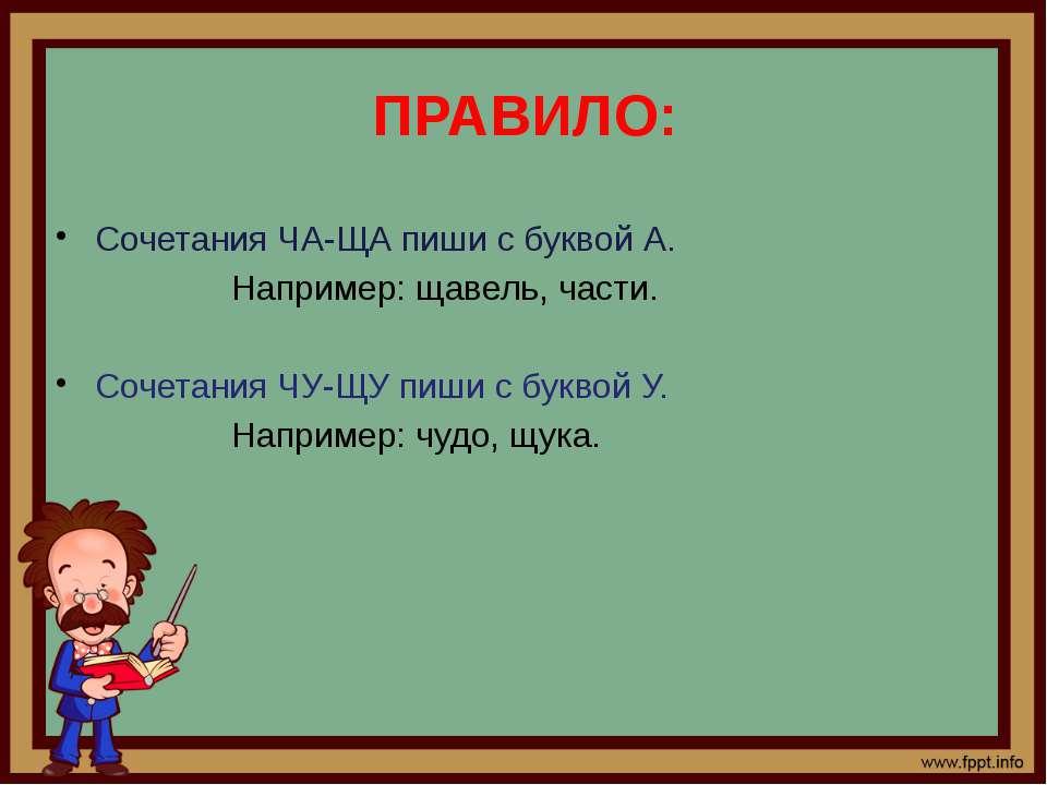 ПРАВИЛО: Сочетания ЧА-ЩА пиши с буквой А. Например: щавель, части. Сочетания ...