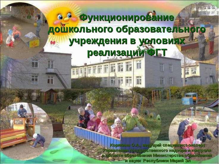 Функционирование дошкольного образовательного учреждения в условиях реализаци...