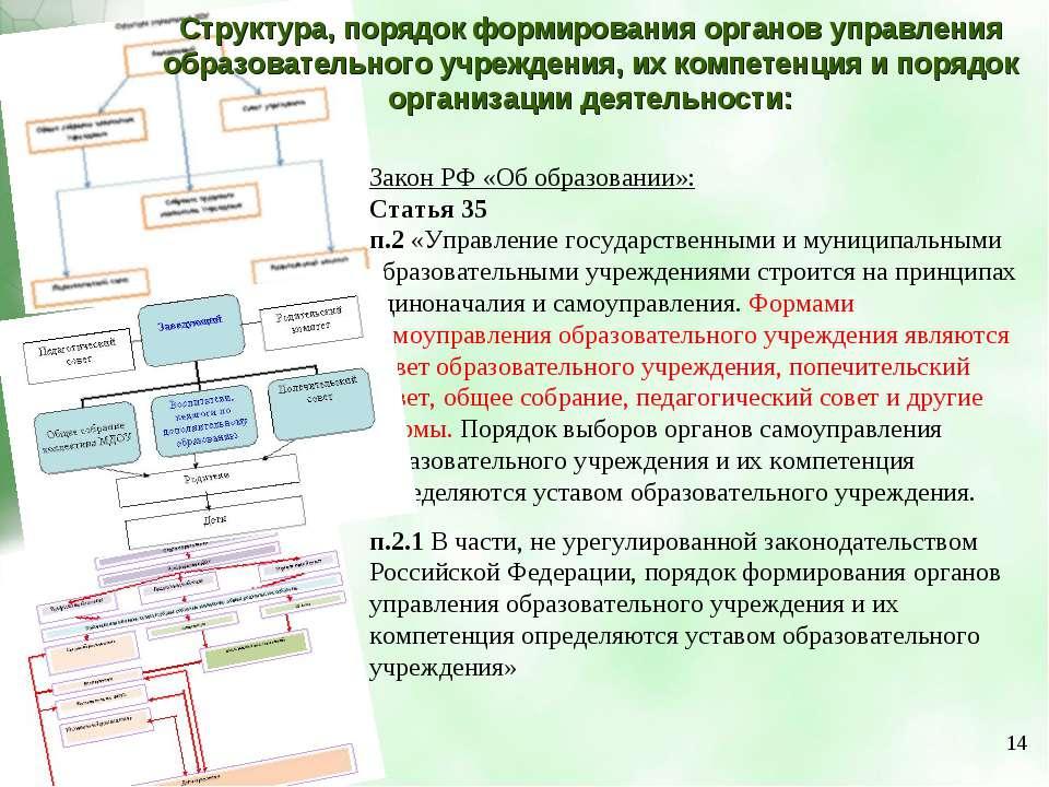 Структура, порядок формирования органов управления образовательного учреждени...