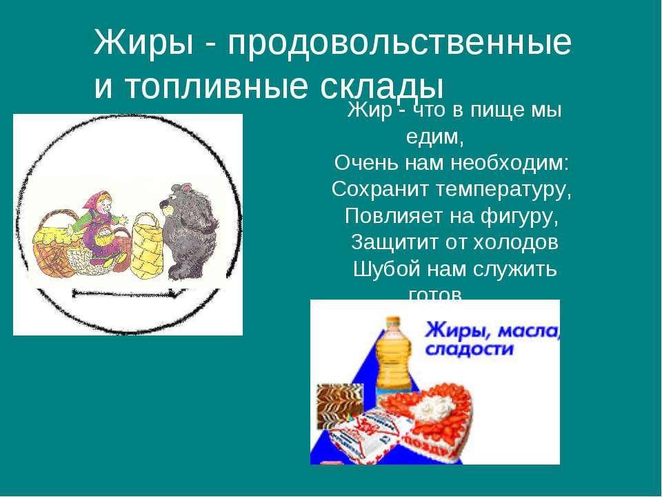 Жиры - продовольственные и топливные склады Жир - что в пище мы едим, Очень н...