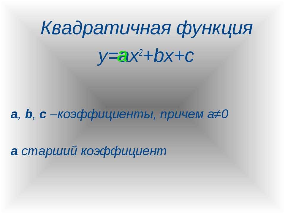 Квадратичная функция y=ax2+bx+c a, b, c –коэффициенты, причем а≠0 а старший к...
