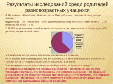 Результаты исследований среди родителей разновозрастных учащихся 6. На вопрос...