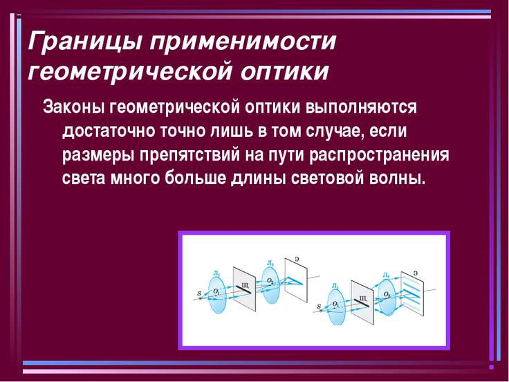 Границы применимости геометрической оптики Законы геометрической оптики выпол...
