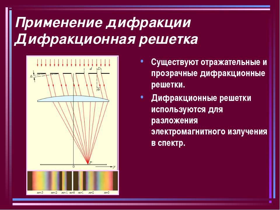 Применение дифракции Дифракционная решетка Существуют отражательные и прозрач...