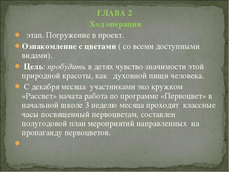 ГЛАВА 2 Ход операции Ι этап. Погружение в проект. Ознакомление с цветами ( со...
