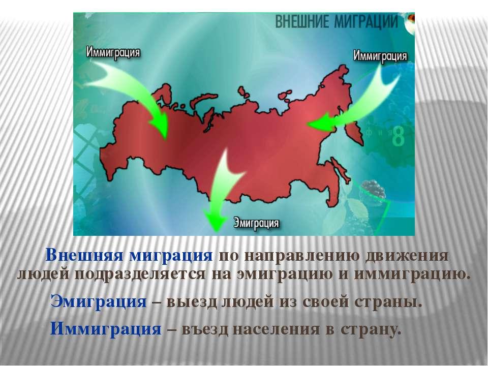 Внешняя миграция по направлению движения людей подразделяется на эмиграцию и ...