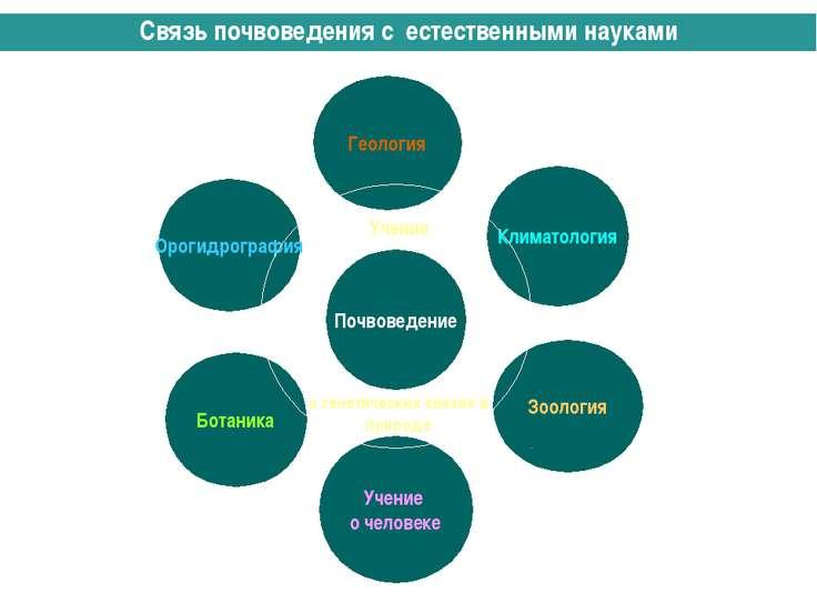 Связь почвоведения с естественными науками Учение о генетических связях в при...