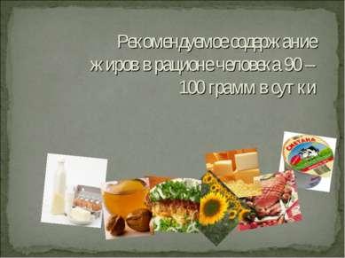 Рекомендуемое содержание жиров в рационе человека 90 – 100 грамм в сутки
