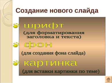 Создание нового слайда