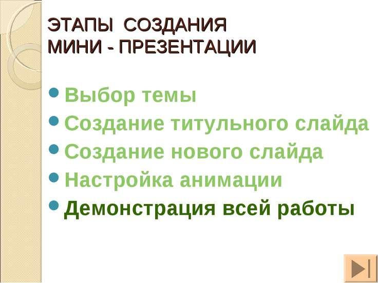 ЭТАПЫ СОЗДАНИЯ МИНИ - ПРЕЗЕНТАЦИИ Выбор темы Создание титульного слайда Созда...